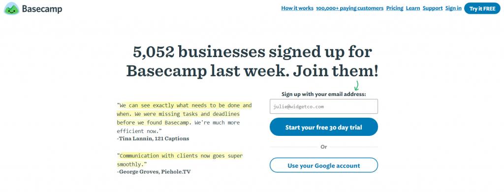 basecamp creative landing page