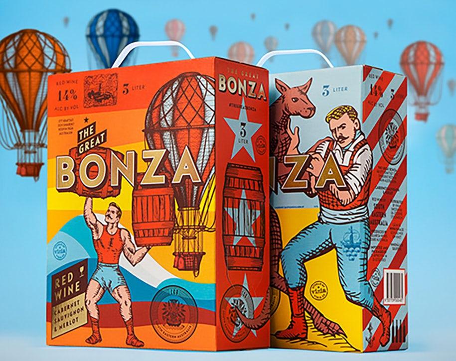 Bonza Wine Box Packaging Design Idea