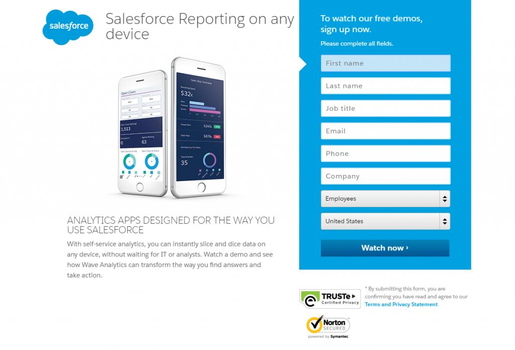 Salesforce landing page design idea