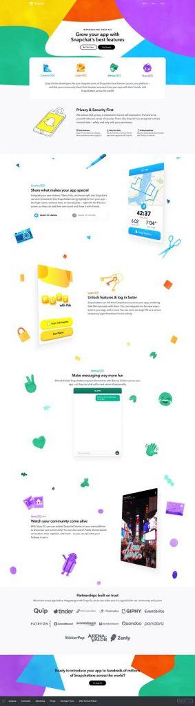 snapchat landing page design