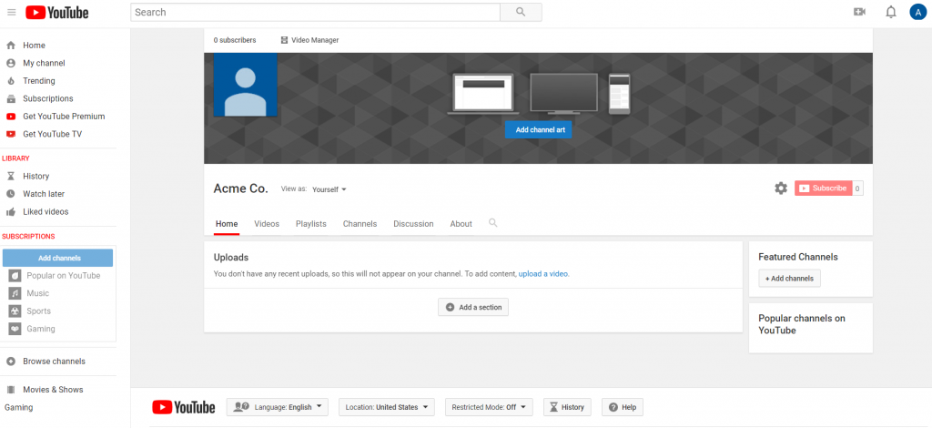 youtube profile page